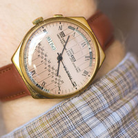 Men's watch Rocket sandy dial gold plated watch chunky perpetual calendar watch premium leather strap new