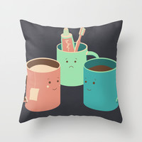 Mugs Throw Pillow by Teo Zirinis
