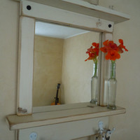 Craftsman Style Mirror with Shelves and Hooks in White Wash EXPEDITED