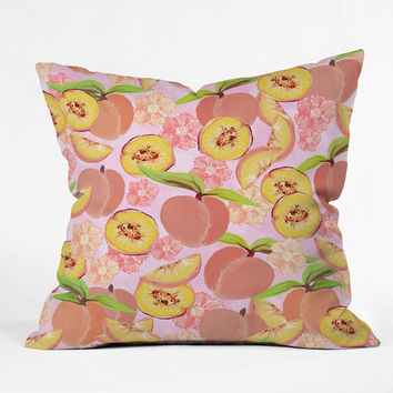 "Lisa Argyropoulos Peaches On Pink Throw Pillow - Indoor / 26"" x 26"" / Pillow Cover Only"