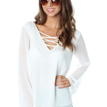 Criss Cross Blouse White