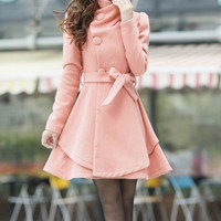 Discount- Women Coat-  Slim Coat-Winter Coat-Long Sleeve-Pink