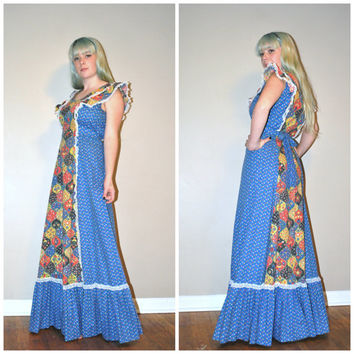 1970s maxi dress / boho hippie folk floral 70s dress