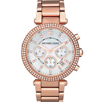 Michael Kors Mid-Size Rose Golden Stainless Steel Parker Chronograph Glitz Watch