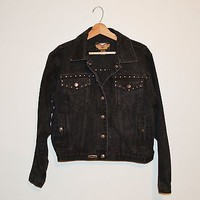 Harley Davidson Black Denim Jacket Black Studed Harley Jacket Motorcycle Jacket