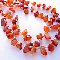 Carnelian Nuggets, 40cm Strand, Graduated Drop, Carnelian Bead, Drop Style Nuggets, 56 Carnelian Nuggets, Gemstone Jewelry Bead Supplies