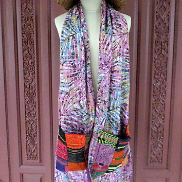 Womens Scarf With Pockets Hmong Embroidery And Pom Poms A Shawl A Wrap Boho Accessory