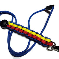 Paracord Lanyard Id Badge Holder in Blue Red and Yellow Breakaway Clasp Handmade USA Men or Women Survival