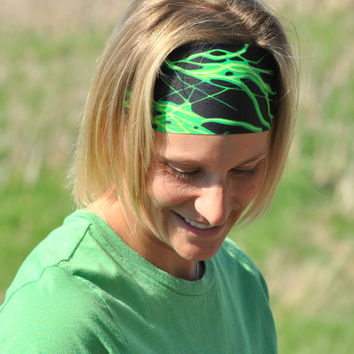 Green and Black Lightning Stretch Headband