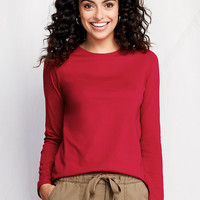 Women's Long Sleeve Relaxed Supima Crew T-shirt from Lands' End