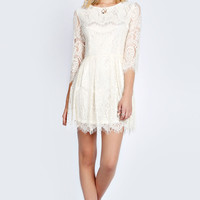 Kathy Woven Eyelash Lace Skater Dress