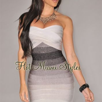 Gray Ombre Strapless Bandage Dress