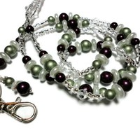 Beaded Lanyard Id Necklace Blackberry and Green Pearls Crystals Angel