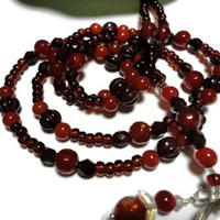Beaded Lanyard Necklace Carnelian Cocoa Brown Angel Jewelry Handmade