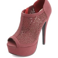 LASER CUT-OUT PEEP TOE PLATFORM BOOTIES