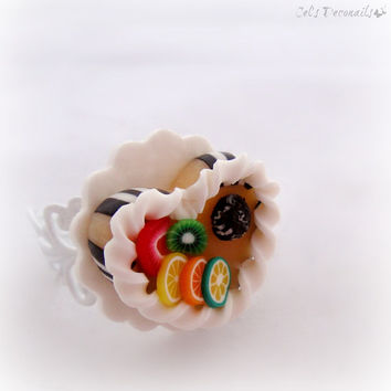 Fruit cake ring, polymer clay jewelry, minature sweet ring, kawaii teen girl gift