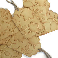 fall leaves wedding favor tags - autumn leaves gift tags - 8 embossed leaf tags by partyparts