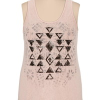 textured ethnic print plus size tank