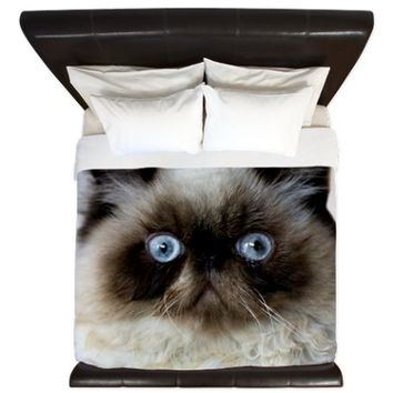 Cat with Blue Eyes King Duvet
