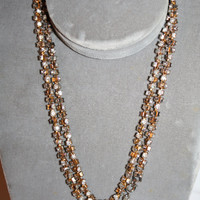 Rhinestone Necklace Flapper Length Vintage 1970s Jewelry