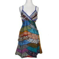 Women's Silk Colorful Layered Tulip Dress (Nepal) | Overstock.com