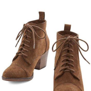 ModCloth Rustic Press Playlist Bootie in Brown
