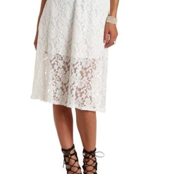 HIGH-WAISTED LACE FULL MIDI SKIRT