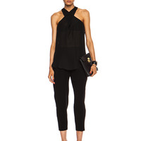 Cross Over Strap Silk Top in Black