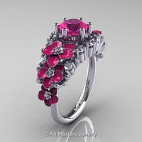 Nature Classic 14K White Gold 1.0 Ct Pink Sapphire Diamond Pink Orchid Engagement Ring R604-14KWGDPPS