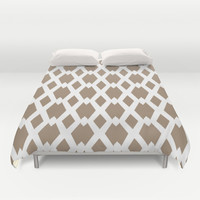 Daffy Lattice Cafe Latte Duvet Cover by Lisa Argyropoulos | Society6