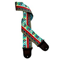 Colorful Ikat Design Handmade Guitar Strap Teal Blue Red Dye Design