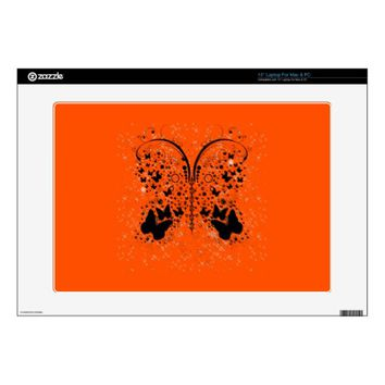 Butterfly Sparkles ORANGE Laptop Skins