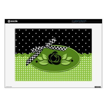 Polka Dot Roses BLACK Vinyl Laptop Skin
