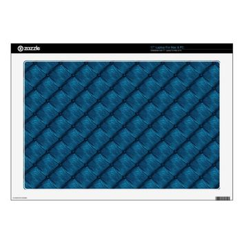 Tufted Buttons Blue Vinyl Laptop Skin