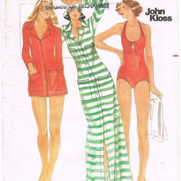 Butterick 4808 - Vintage 1970s Sewing Pattern - Size 10 - John Kloss - Misses' Swimsuit And Cover-Up