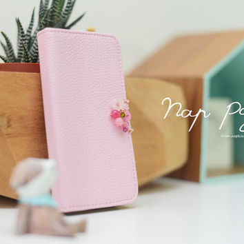 apple iPhone 5 case , iPhone 5s case cute pink PV leather case with brass and turquoise beads