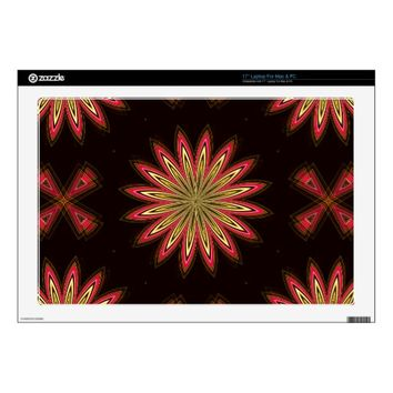 16 Point Flower Pink-Black Laptop Skin