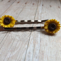 Sunflower Bobby Pins Hair Accessories Yellow Brown Bobbypins Floral Flower Bobbypins Hippie Inspired Under 20 Under 10