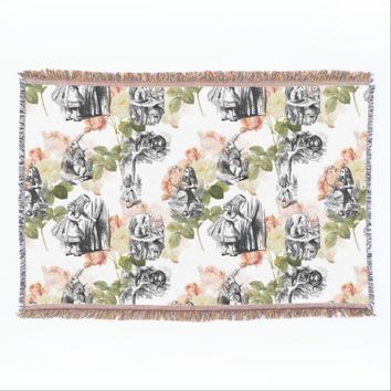 Alice in Wonderland Vintage Roses Throw Blanket