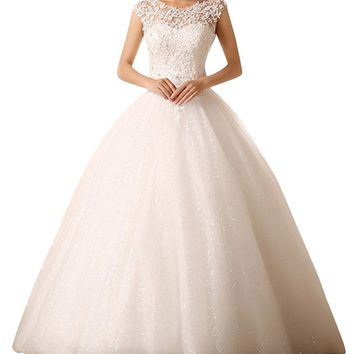 DAPENE Women's Elegant Bridal One Shouder Chapel Train Wedding Gown