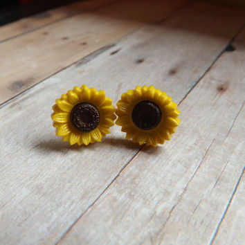 Sunflower Earrings Sunflower Studs Yellow Brown Summer Inspired Earrings Gift Under 20