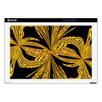 Abstract Botanical Gold Vinyl Laptop Skin