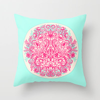 Spring Arrangement - floral doodle in pink & mint Throw Pillow by micklyn | Society6