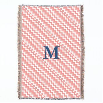 Coral Chevron Navy Monogram Throw Blanket