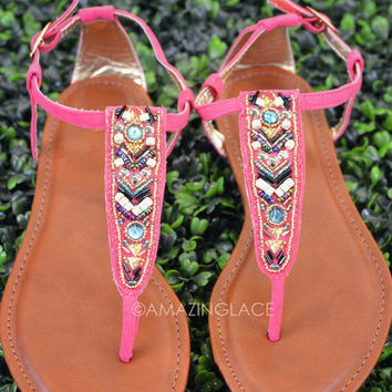 Indian Hills Pink Beaded Tribal Sandals