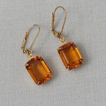 Topaz Earrings made with Vintage Swarovski Crystals, Classic Hollywood, Retro Glam, Rhinestone Earrings, Vintage Inspired, Topaz Earrings