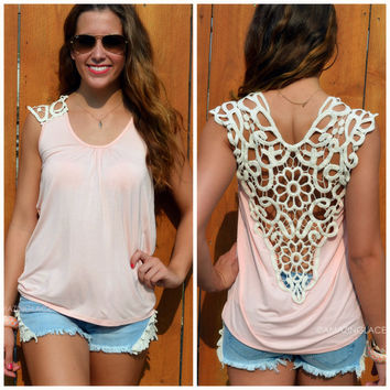 Stony Brook Peach Crochet Back Top