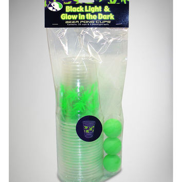 Blacklight and Glow in the Dark Leaf Cups and Beer Pong Ball Set