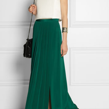 Tibi - Pleated washed-silk maxi skirt