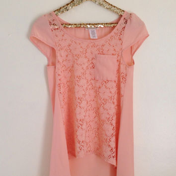 Lace Peach Pocket Tee